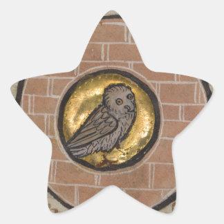 Owl from a Medieval Manuscript Star Sticker