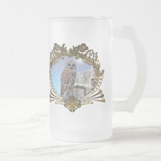 Owl Frosted Glass Beer Mug