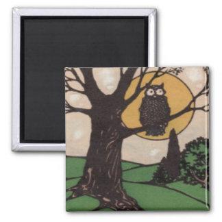 Owl Full Moon Tree Night 2 Inch Square Magnet