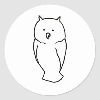 Owl - Fun cute simple totem ink line drawing art Classic Round Sticker