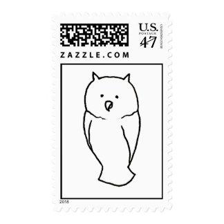 Owl - Fun cute simple totem ink line drawing art Postage