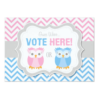 Owl Gender Reveal Voting Table Sign Card