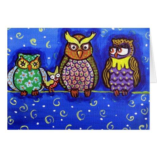 Owl Get Together Fun Folk Art Greeting Cards