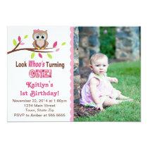 Owl Birthday Invitations - First birthday girl invitation cards