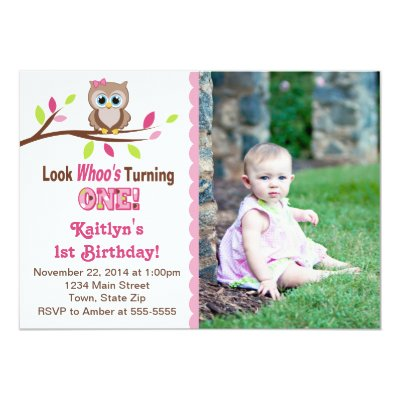 Owl 1st Birthday Invitation with Photo for Girls – Toddler Girl Birthday Invitations