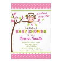 Owl Girl Baby Shower Invitation Pink Owl Baby