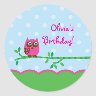 Owl Girl Favor Sticker sticker
