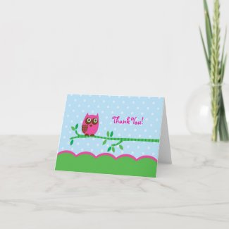 Owl Girl Thank You Card card