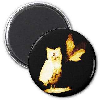 Owl Glowing at Night 2 Inch Round Magnet