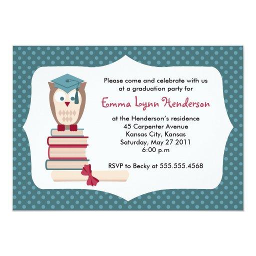 "Owl Graduate Graduation Party Invitation 5"" X 7"" Invitation Card"