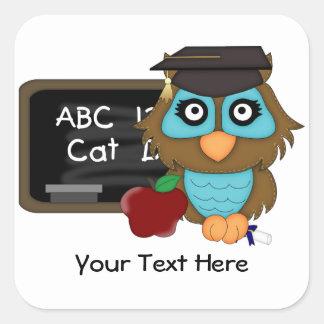 Owl Graduation1 (Customizable) Square Sticker