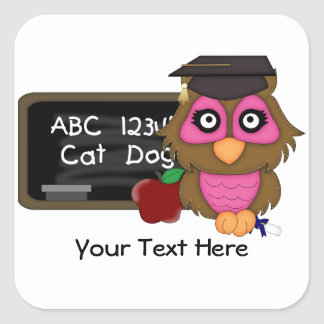 Owl Graduation 2 (customizable) Square Sticker