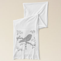 Owl Gray,White,Nature,Branches. Scarf