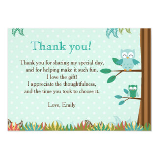 Owl Green Brown Party Thank You Card