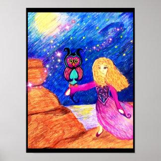 Owl Guardian Illustration by Carol Zeock Poster