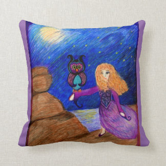 Owl Guardian illustration by Carol Zeock Throw Pillow