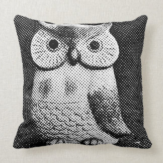 Owl halftone 2 throw pillow