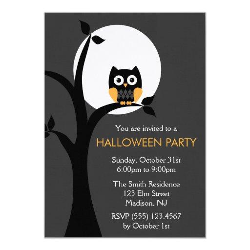 Owl Halloween Party Invitations