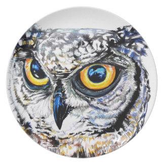 owl hand drawn art illustration plate