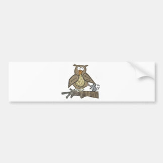 Owl hanging out with his mouse friend bumper stickers