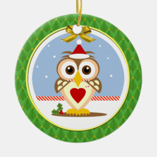 Owl Happy Yule Round Ornament
