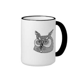 Owl Head Zendoodle Ringer Mug