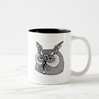 Owl Head Zendoodle Two-Tone Coffee Mug