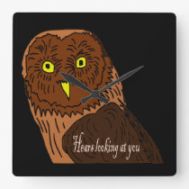 owl hears looking at you square wall clock