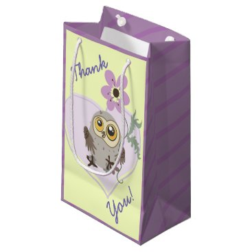 Owl Heart and Flower Small Gift Bag