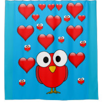 Owl heart children valentines shower curtain blue
