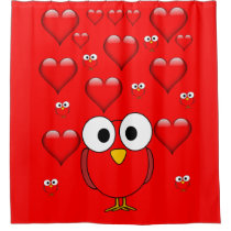 Owl heart children valentines shower curtain red