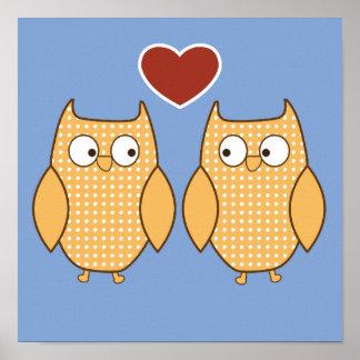 Owl heart love kid's room poster