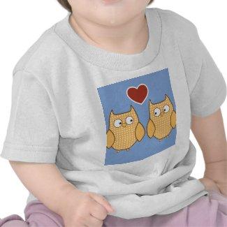 Owl heart love tee shirts