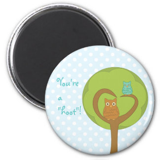 Owl Heart Tree 2 Inch Round Magnet