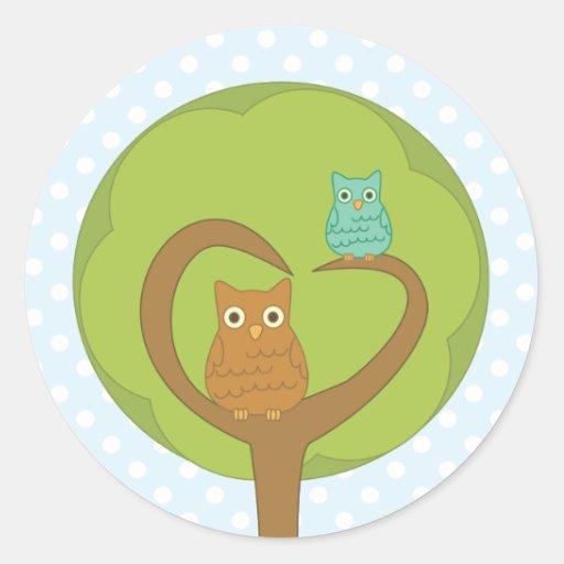 Owl Heart Tree Round Sticker
