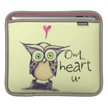 Owl heart u iPad sleeve