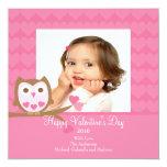 """Owl HEARTS Valentine's Photo Card 5.25"""" Square Invitation Card"""