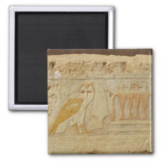 Owl Hieroglyph Detail, Hatshepsut Temple, Egypt 2 Inch Square Magnet