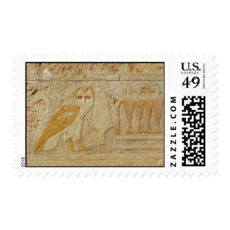Owl Hieroglyph Detail, Hatshepsut Temple, Egypt Postage Stamps