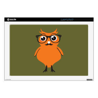 """Owl Hipster with Glasses and Mustache 17"""" Laptop Decal"""