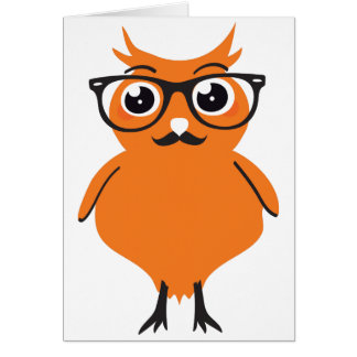 Owl Hipster with Glasses and Mustache Card