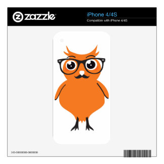 Owl Hipster with Glasses and Mustache Decal For iPhone 4S