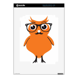 Owl Hipster with Glasses and Mustache iPad 2 Skin