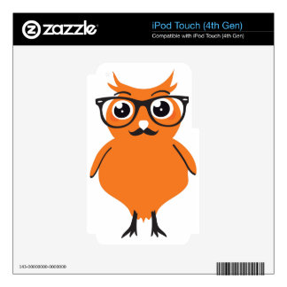 Owl Hipster with Glasses and Mustache iPod Touch 4G Skin