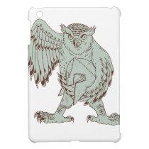 Owl Holding Spartan Helmet Drawing iPad Mini Case
