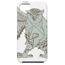 Owl Holding Spartan Helmet Drawing iPhone SE/5/5s Case