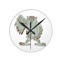 Owl Holding Spartan Helmet Drawing Round Clock