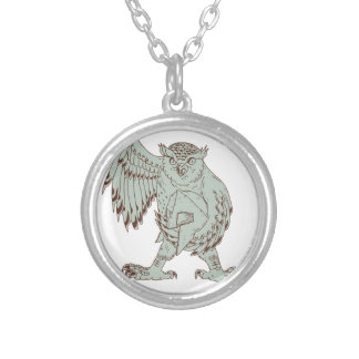 Owl Holding Spartan Helmet Drawing Silver Plated Necklace