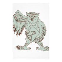 Owl Holding Spartan Helmet Drawing Stationery