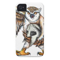 Owl Holding Spartan Helmet Tattoo iPhone 4 Cover
